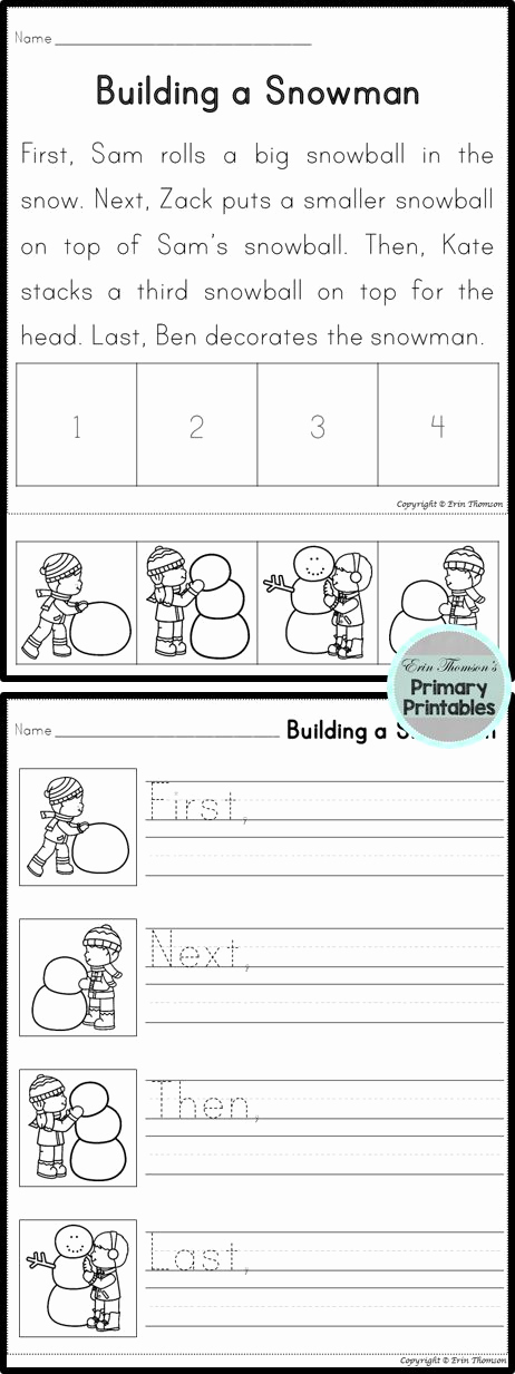 First Grade Sequencing Worksheets Unique Sequencing Story Building A Snowman