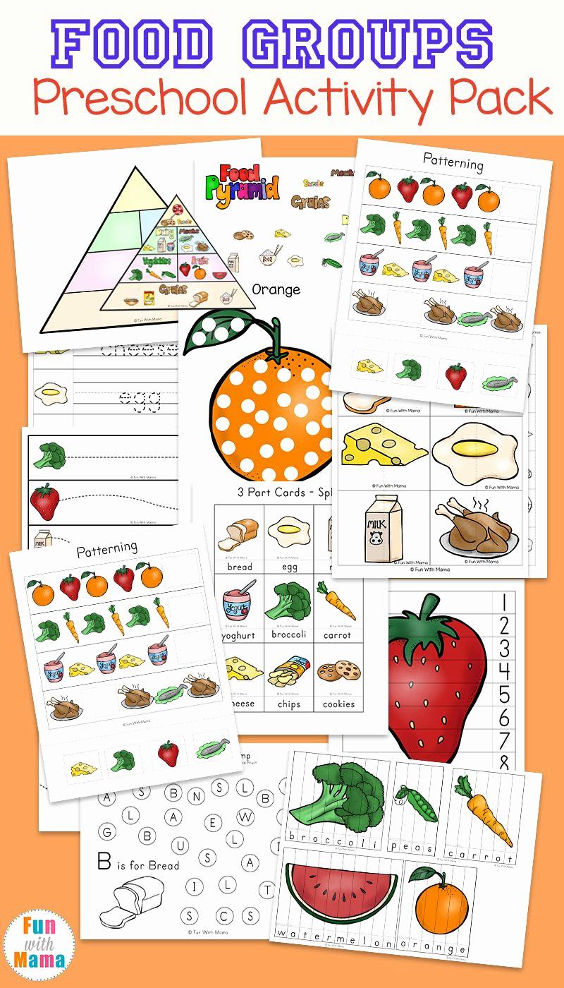 Five Food Groups Worksheets Best Of Food Groups Preschool Activity Pack