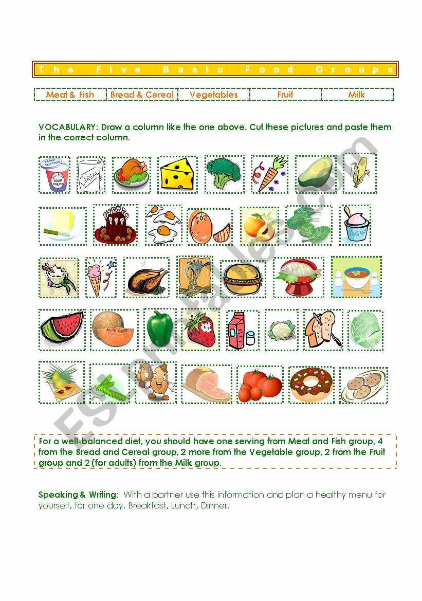 Five Food Groups Worksheets Inspirational Five Basic Food Groups Esl Worksheet by Gisel