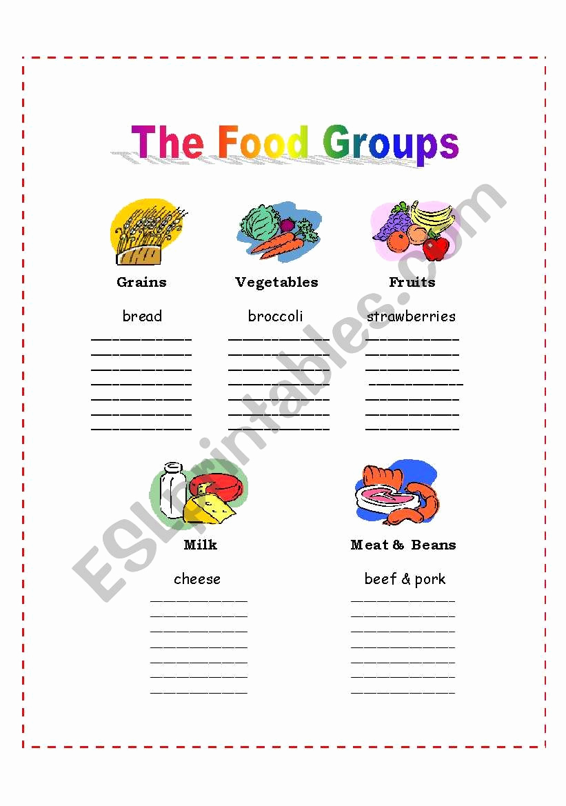 Five Food Groups Worksheets Inspirational the 5 Food Groups Esl Worksheet by Nalawood