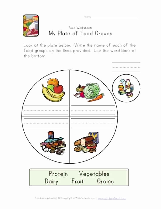 Five Food Groups Worksheets Lovely Food Groups Plate Worksheet