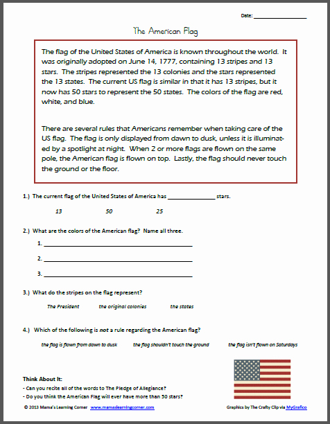 Flag Day Reading Comprehension Worksheets Beautiful Reading Prehension the American Flag