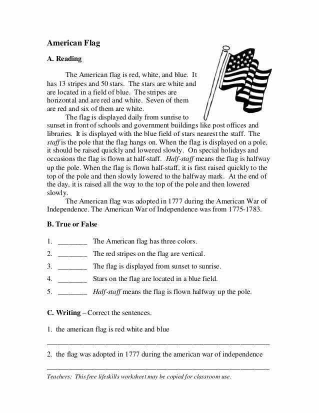 Flag Day Reading Comprehension Worksheets Luxury Esl Short Story Flag Day