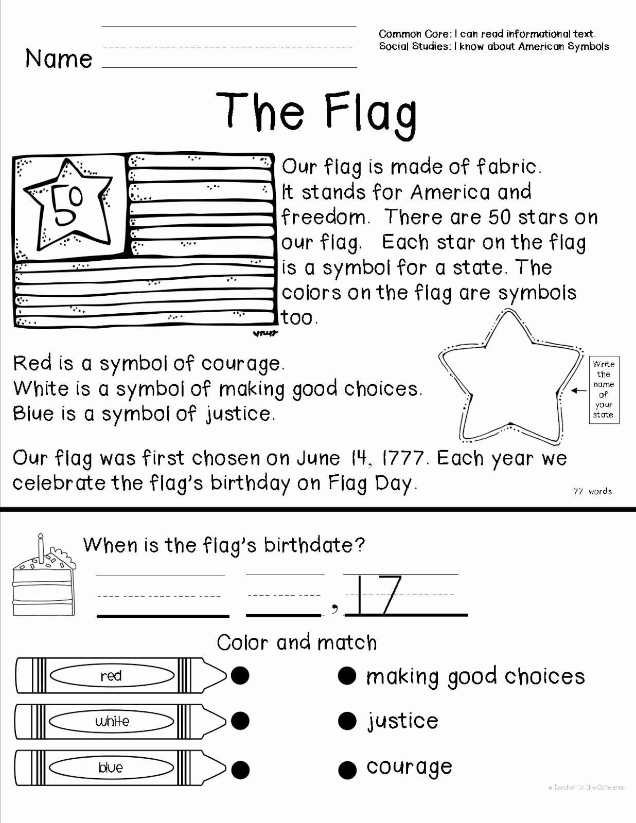 Flag Day Reading Comprehension Worksheets New Teacher to the Core American Symbols