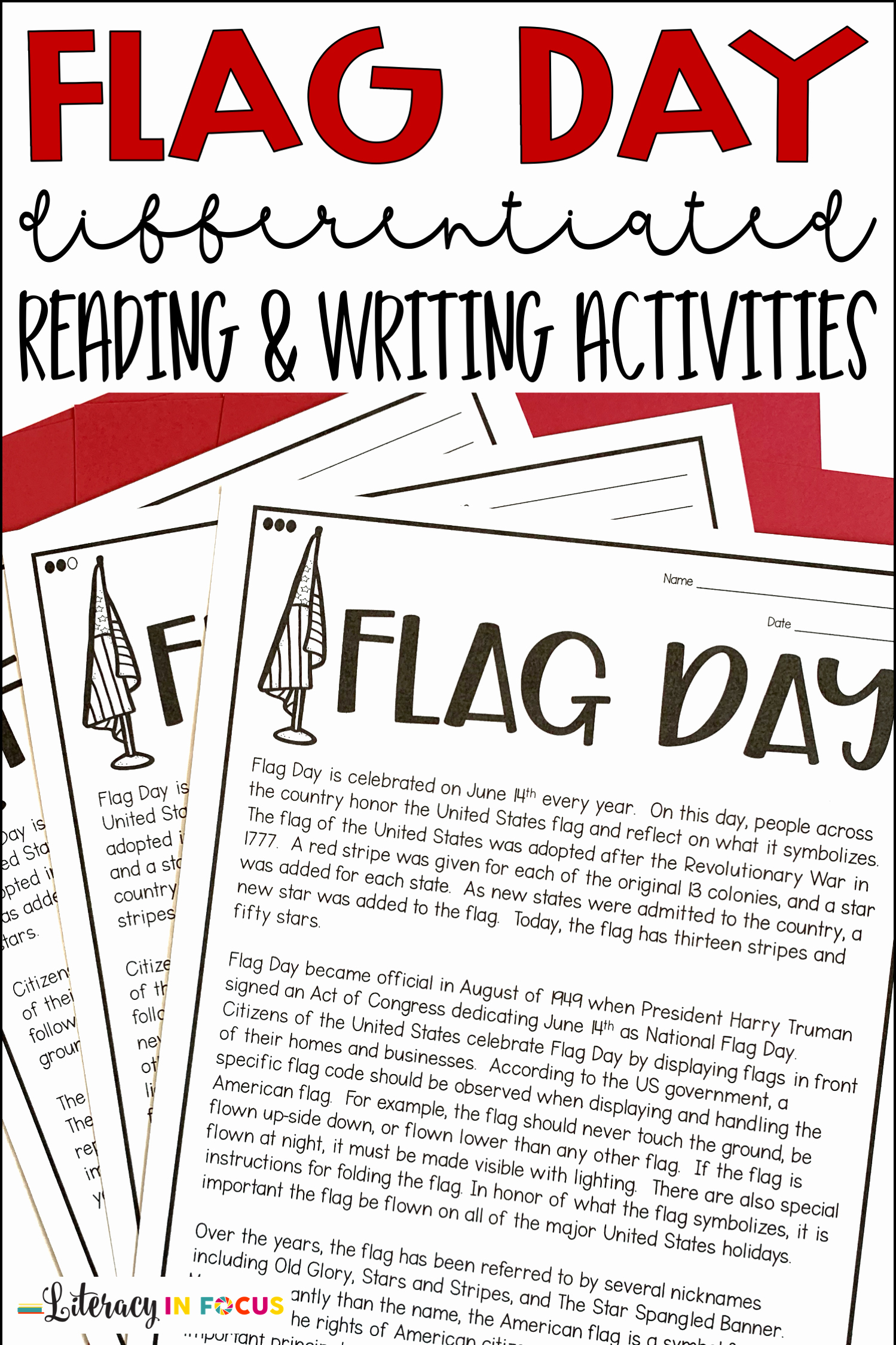 Flag Day Reading Comprehension Worksheets Unique Flag Day Reading and Writing Activities In 2020