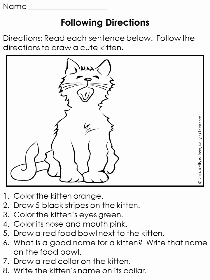Following Directions Coloring Worksheet Awesome Following Directions Free Following Directions Worksheet