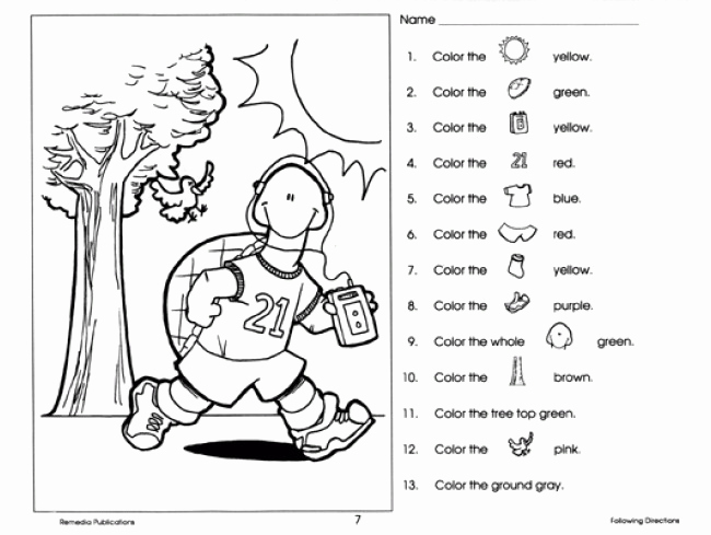 Following Directions Coloring Worksheet Awesome Following Directions Worksheet