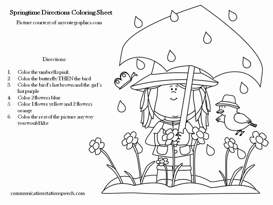 Following Directions Coloring Worksheet Awesome Freebie Friday Springtime Directions Coloring Sheets
