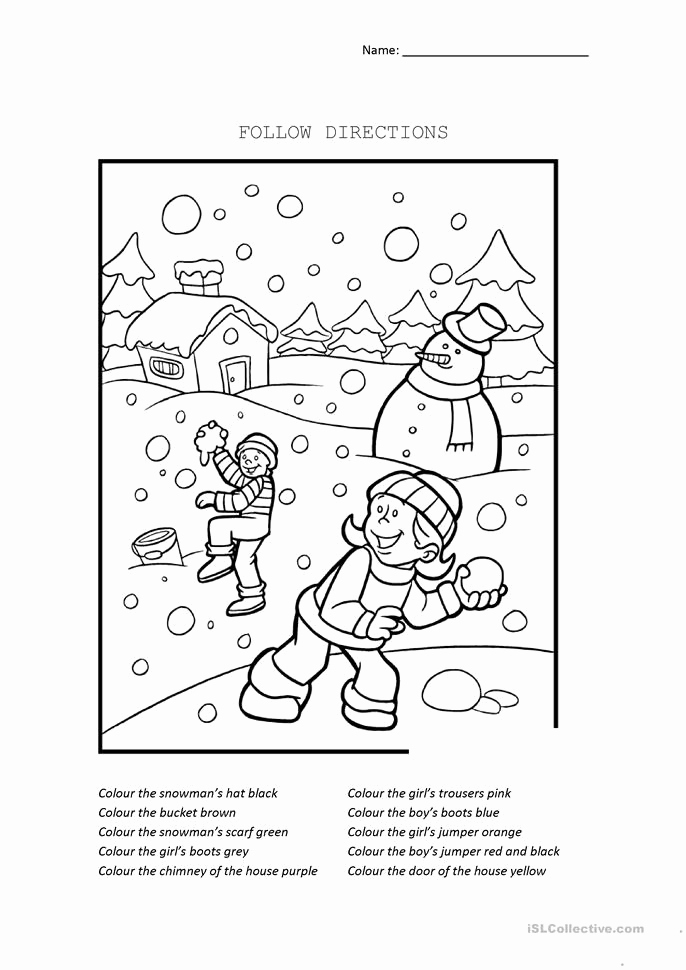 Following Directions Coloring Worksheet Beautiful Following Directions Coloring Sketch Coloring Page