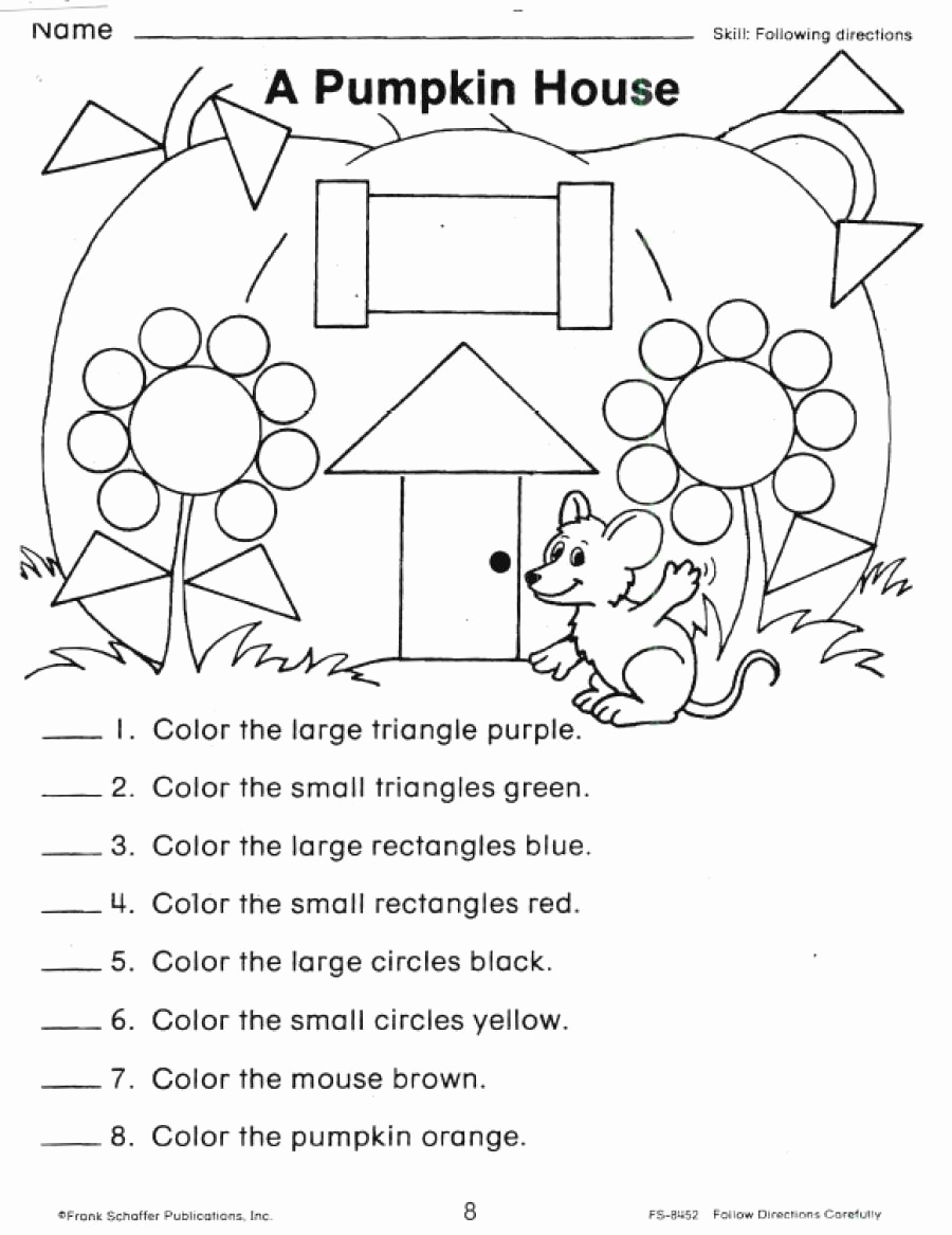Following Directions Coloring Worksheet Beautiful Following Directions Coloring Worksheets Coloring Pages