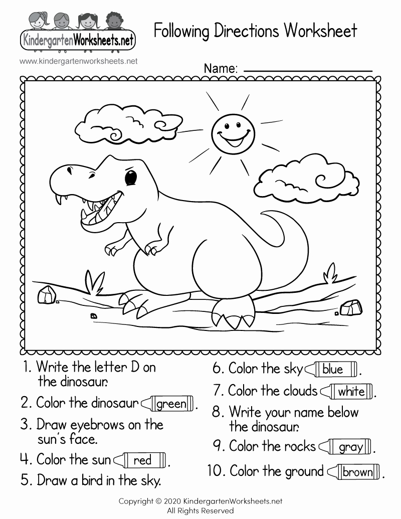 Following Directions Coloring Worksheet Beautiful Following Directions Worksheet for Kindergarten Free