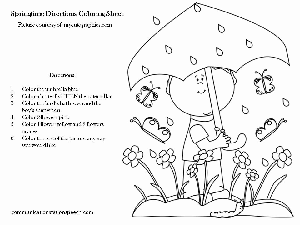 Following Directions Coloring Worksheet Best Of Freebie Friday Springtime Directions Coloring Sheets