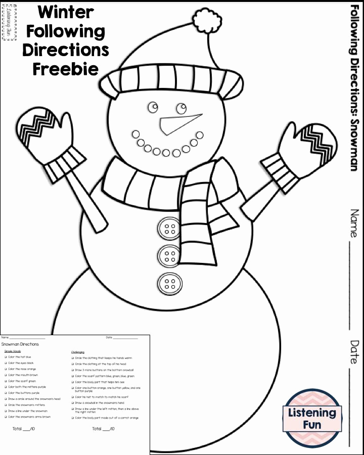 Following Directions Coloring Worksheet Elegant Winter Following Directions Coloring Printable