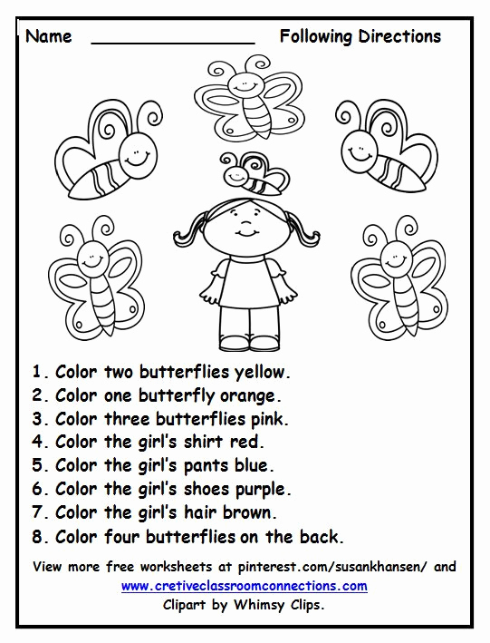 Following Directions Coloring Worksheet Lovely Activities Other and Colors On Pinterest