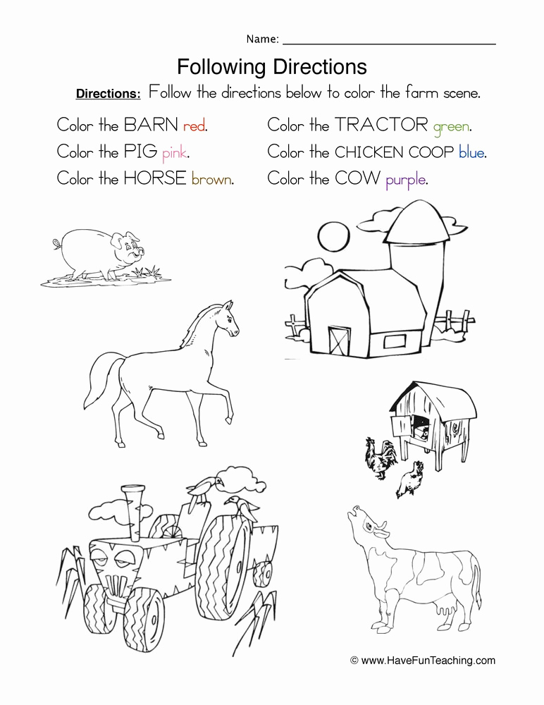Following Directions Coloring Worksheet Lovely Following Directions Worksheet Coloring