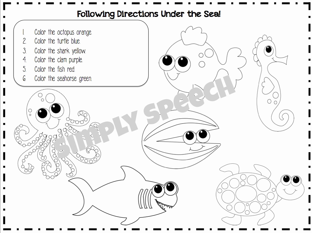 Following Directions Coloring Worksheet Luxury Following Directions Coloring Sketch Coloring Page
