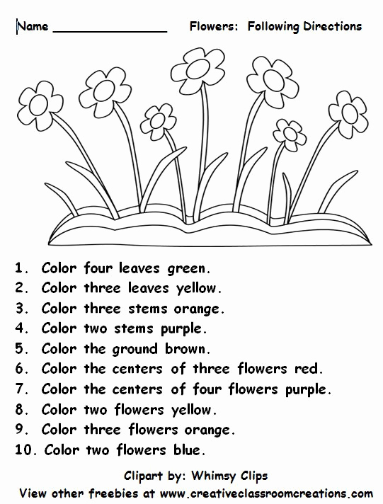 Following Directions Coloring Worksheet Luxury Freebie Following Directions Students Will Love