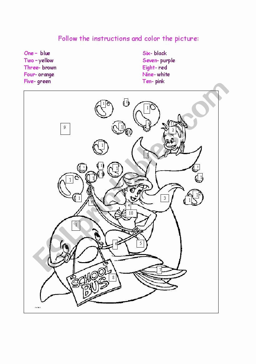 Following Directions Coloring Worksheet Unique Follow the Instructions and Color the Picture Esl