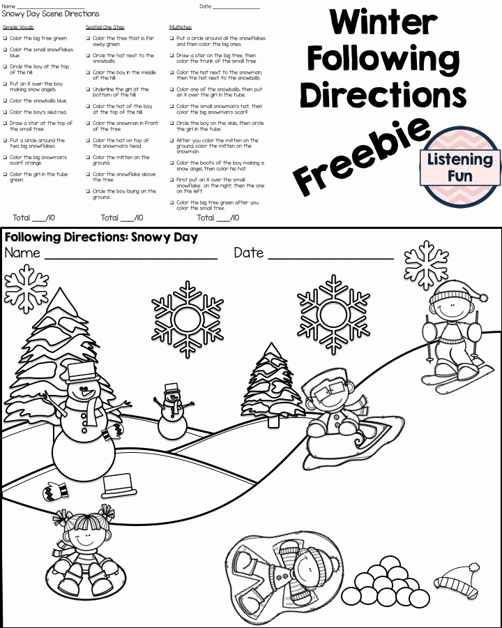 Following Directions Coloring Worksheet Unique Winter Following Directions Coloring Printable