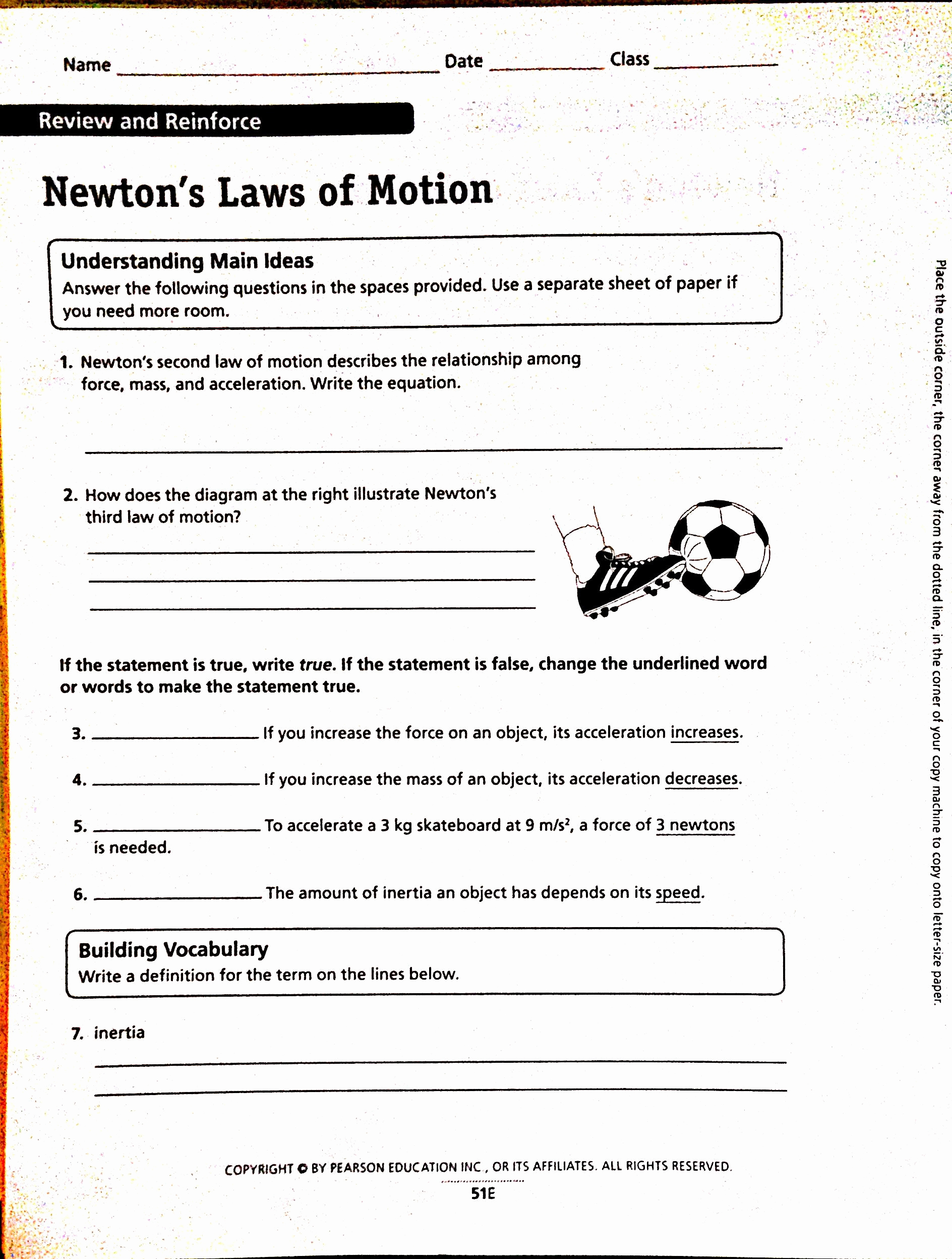 Force and Motion Printable Worksheets Awesome Newton S Third Law Worksheet Answers Best 3 Laws