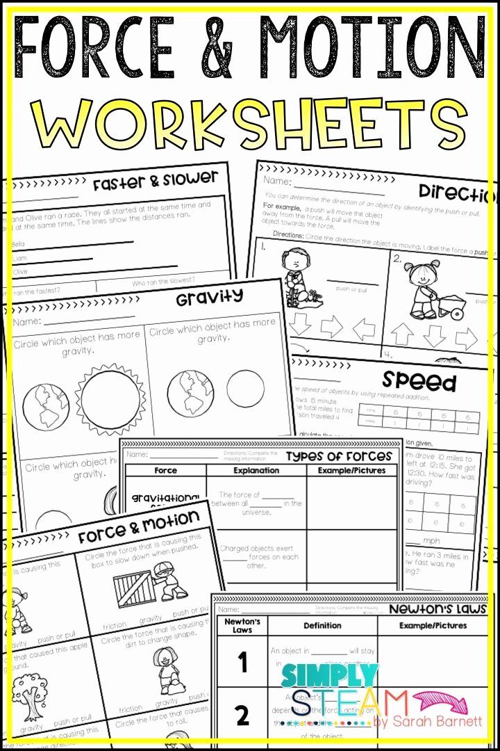 Force and Motion Printable Worksheets Elegant force and Motion Worksheets