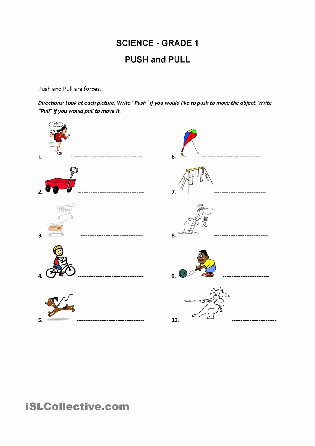 Force and Motion Printable Worksheets Inspirational Push and Pull