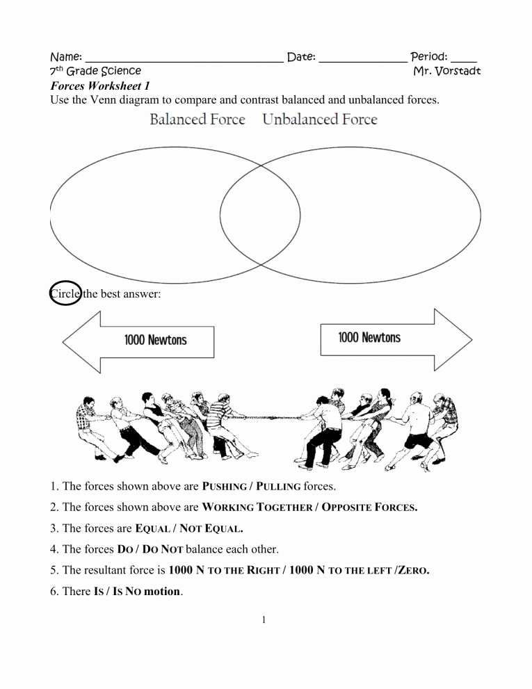 Force and Motion Printable Worksheets Lovely 9 Science forces Worksheet