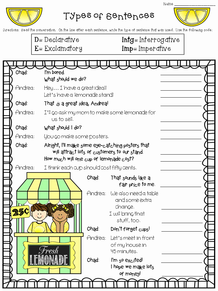 Four Kinds Of Sentences Worksheets Best Of Crafting Connections Worksheet Wednesday Types Of