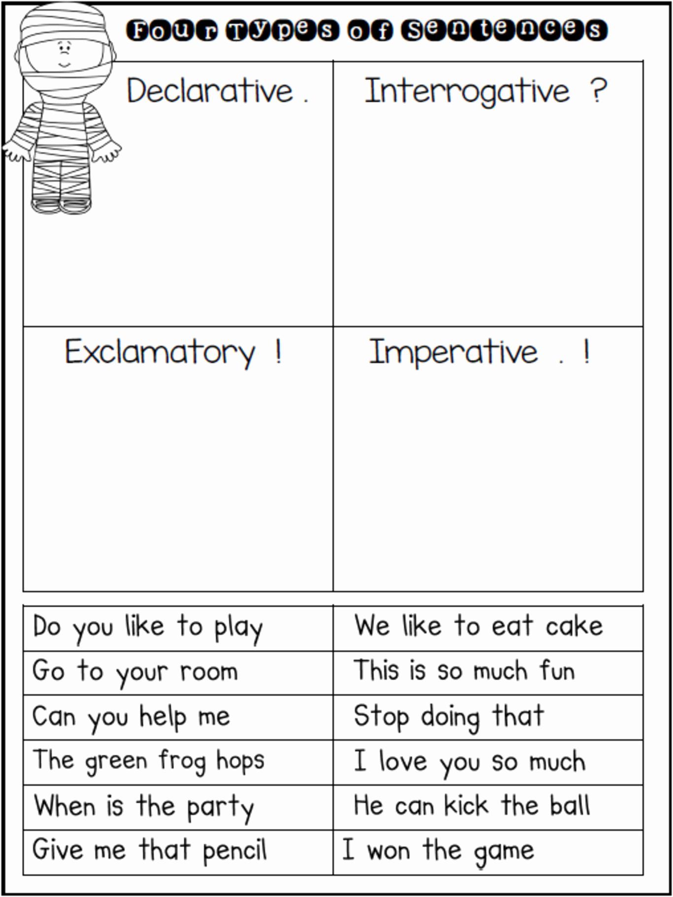 Four Kinds Of Sentences Worksheets Best Of Free Types Of Sentences Worksheets Misc Free