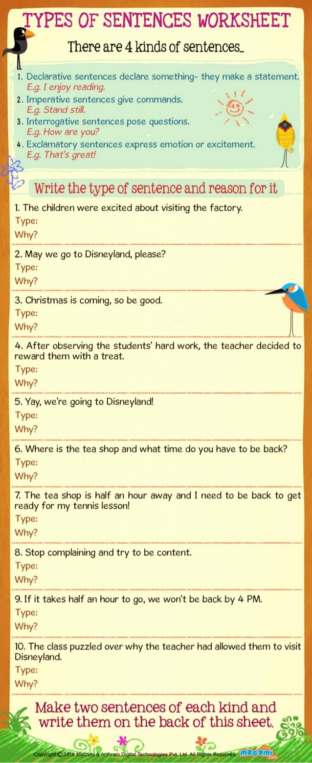 Four Kinds Of Sentences Worksheets Best Of Types Of Sentences Worksheet for Kids Mo I