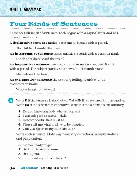 Four Kinds Of Sentences Worksheets Fresh Four Kinds Of Sentences Worksheet for 4th 6th Grade