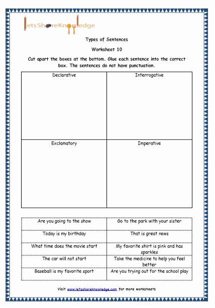 Four Kinds Of Sentences Worksheets Inspirational Four Types Sentences Worksheet Luxury Grade 4 English