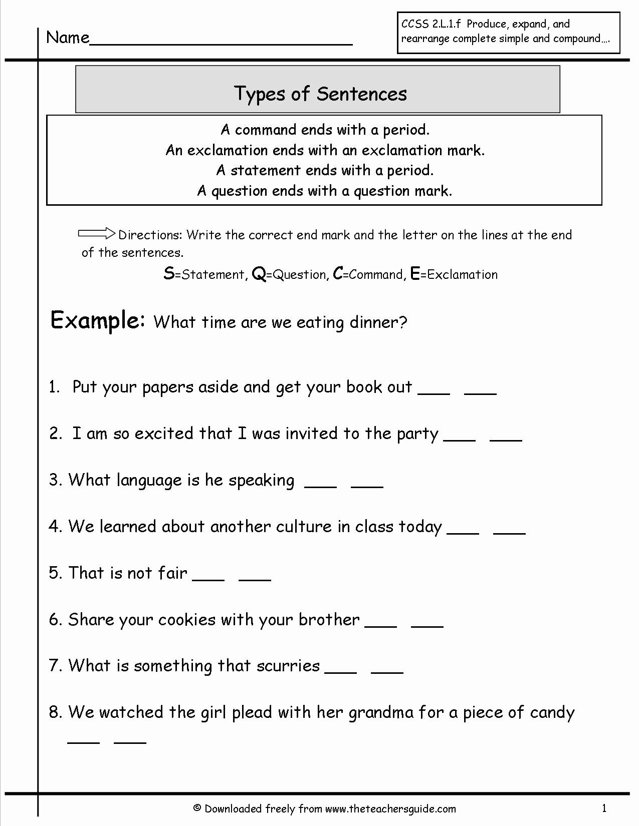 Four Kinds Of Sentences Worksheets Lovely 14 Best Of 4 Types Sentences Worksheets 4