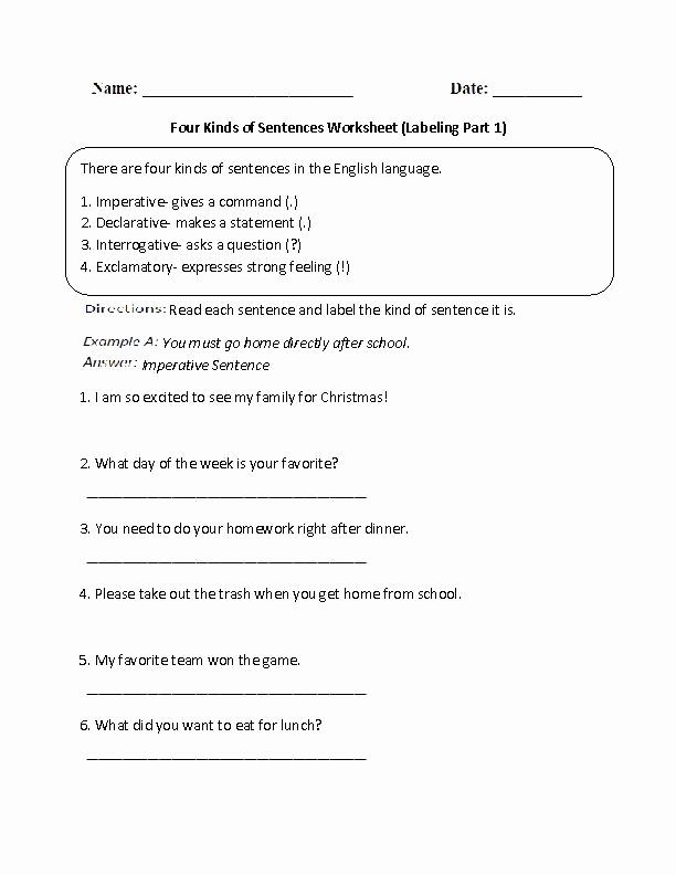 Four Kinds Of Sentences Worksheets Lovely Learning Four Kinds Of Sentences Worksheet