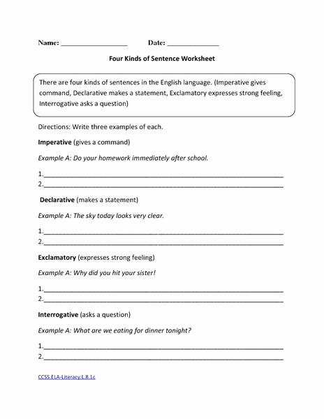 Four Kinds Of Sentences Worksheets New Four Kinds Of Sentence Worksheet Worksheet for 8th Grade