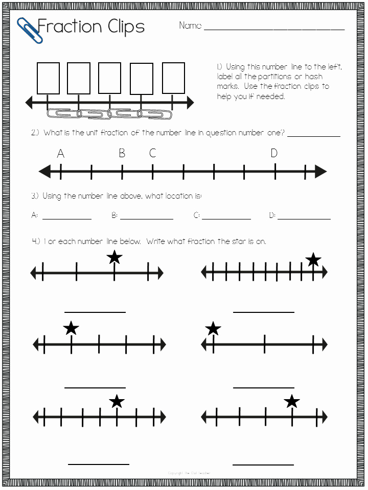 Fraction Number Line Worksheet Luxury Teaching Number Line Fractions with A Freebie the Owl