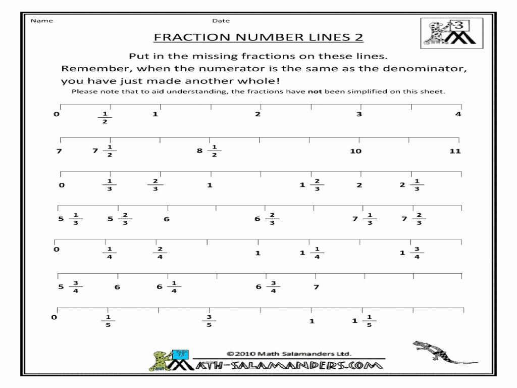 Fraction Number Line Worksheet New Fraction Number Lines 2 Worksheet for 3rd 4th Grade