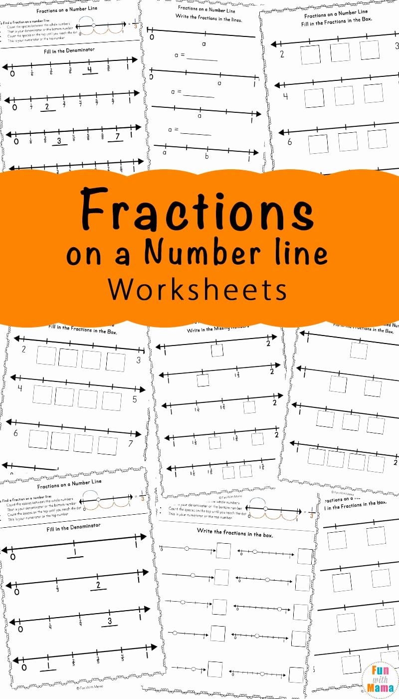 Fraction Number Line Worksheet Unique Fractions A Number Line Worksheets Fun with Mama