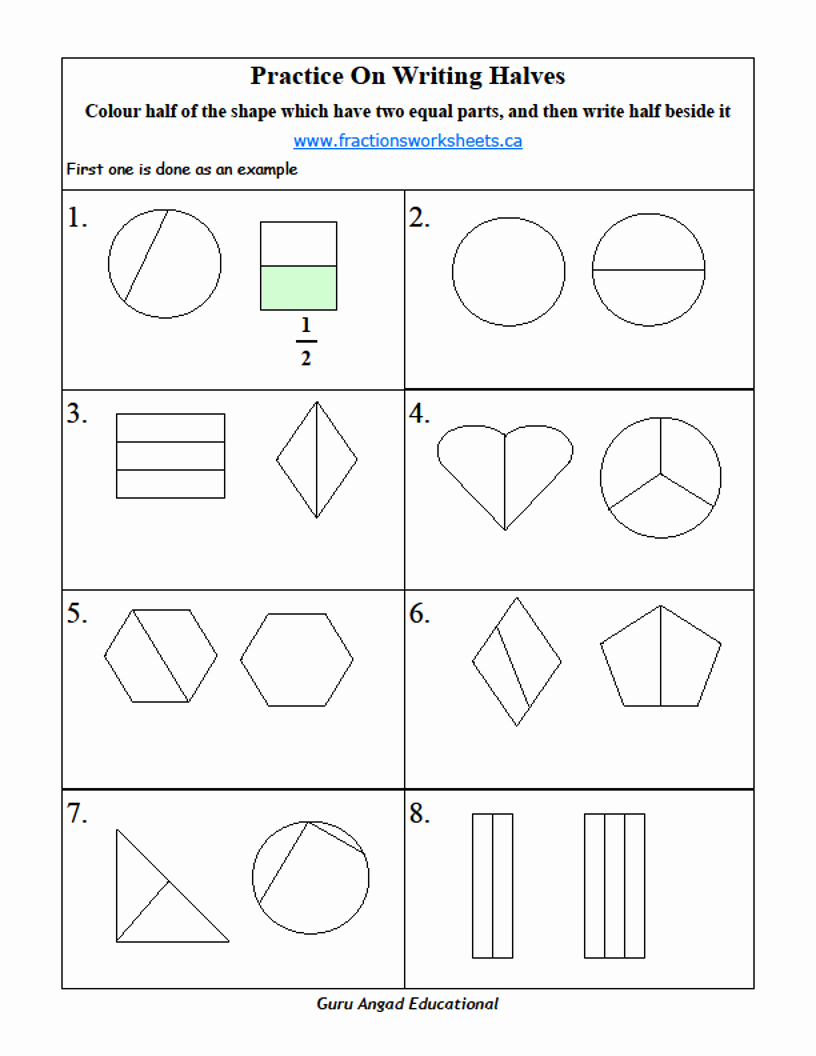 Fractions Worksheets 2nd Grade Awesome 2nd Grade Math Basic Fractions Worksheets On Half — Steemit