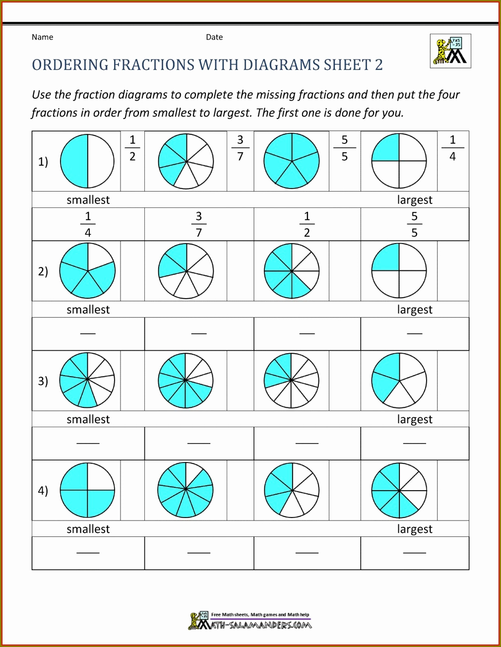 Fractions Worksheets 2nd Grade Awesome Second Grade ordering Fractions Worksheet Worksheet