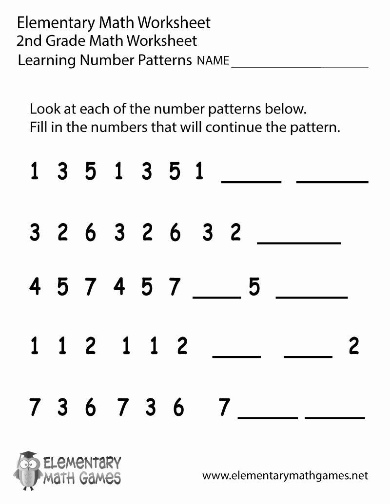 Fractions Worksheets 2nd Grade Beautiful Second Grade Number Patterns Worksheet