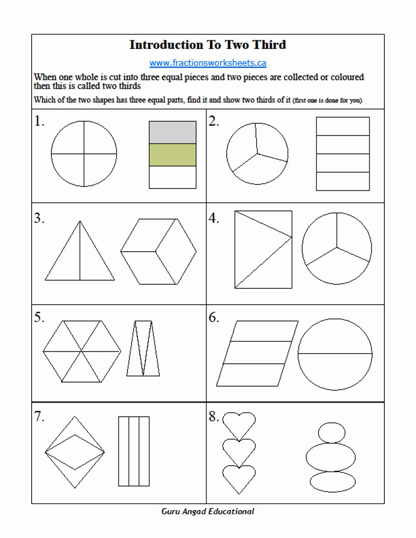 Fractions Worksheets 2nd Grade Elegant 2nd Grade Basic Fractions Worksheets On Two Thirds — Steemit