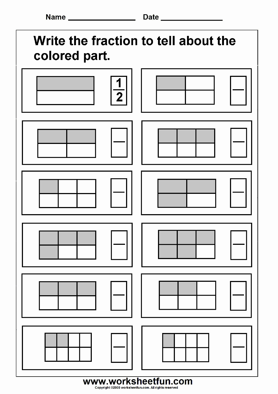 Fractions Worksheets First Grade Awesome Free Printable First Grade Fraction Worksheets