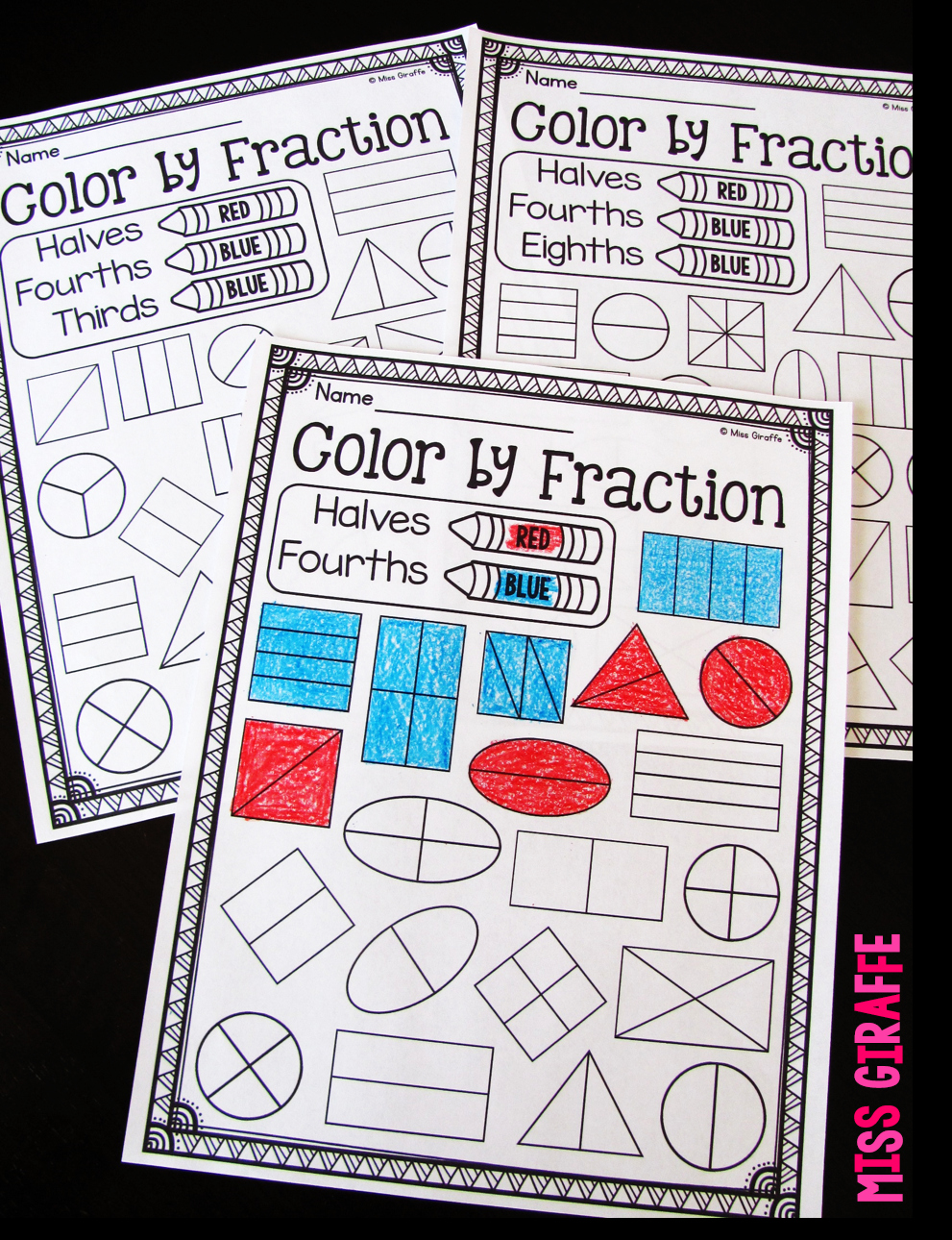 Fractions Worksheets First Grade Awesome Miss Giraffe S Class Fractions In First Grade