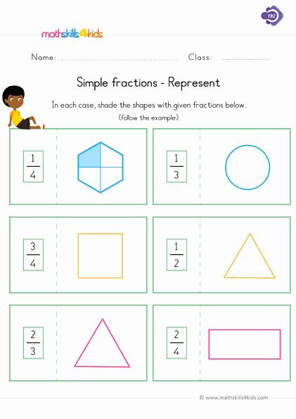 Fractions Worksheets First Grade Beautiful Fraction Worksheets for Grade 1 Pdf