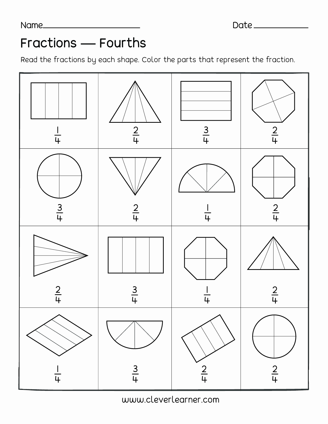 Fractions Worksheets First Grade Fresh Fun Activity On Fractions Fourths Worksheets for Children