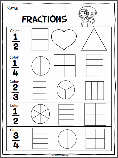 Fractions Worksheets First Grade Lovely Fractions Practice Page Madebyteachers