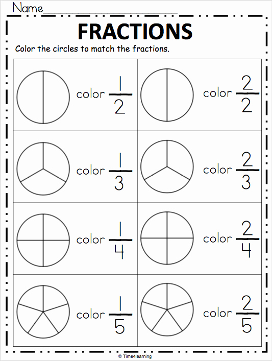 Fractions Worksheets First Grade New Fraction Worksheet Color the Fraction Madebyteachers