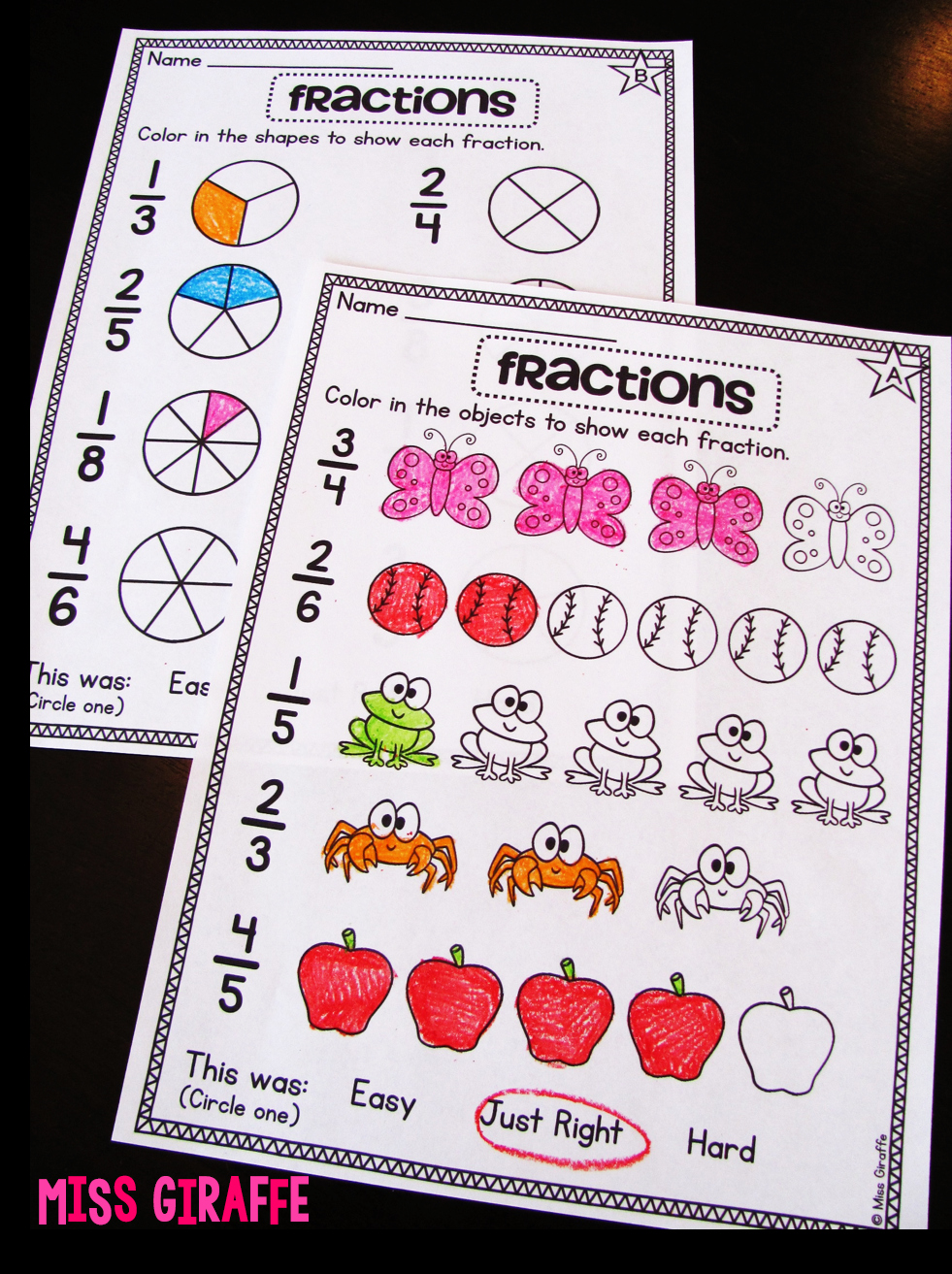 Fractions Worksheets First Grade Unique Miss Giraffe S Class Fractions In First Grade