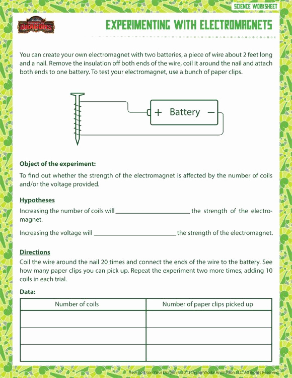 Free 6th Grade Science Worksheets Best Of Experimenting with Electromagnets Printable Science
